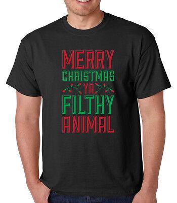 MERRY CHRISTMAS YA FILTHY ANIMAL funny holiday movie present crew neck T-Shirt](Funny Animal Christmas)