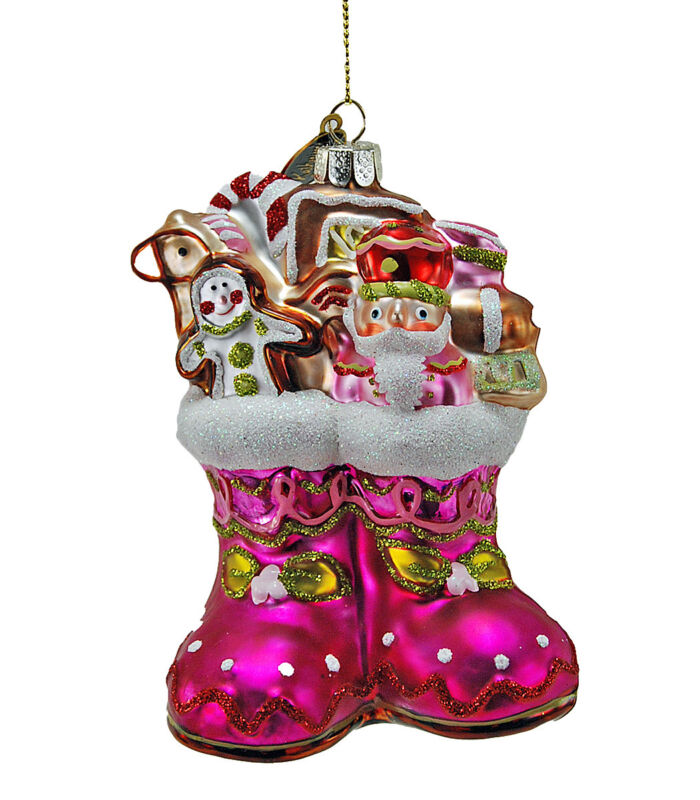 Baby Christmas Stocking Glass Ornament Pink - Katherine's Collection 22-524715