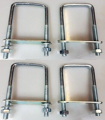 4 x square U-bolt u bolts Brackets Boat trailer 60x120x10mm Nuts & Plate UBS-60C
