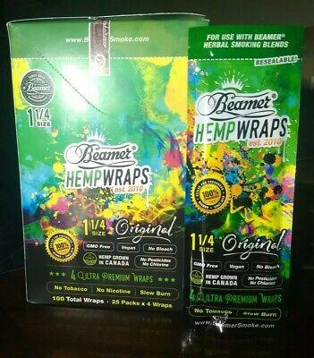 Beamer Ultra Premium Herbal Hemp Blunt Wraps 1 1/4 Size Original 6/4ct Packs