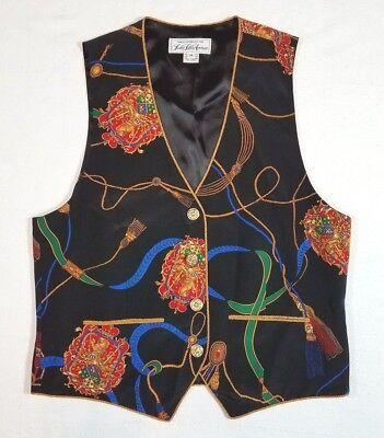 (Saks Fifth Avenue - Silk Vest - Vintage Baroque Print - Size M)