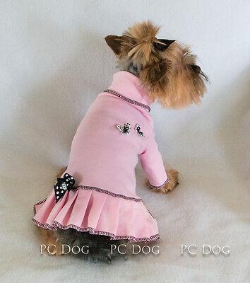 M Pink Butterfly Turtleneck T Shirt Dog Dress Knit clothes pet Medium PC Dog®