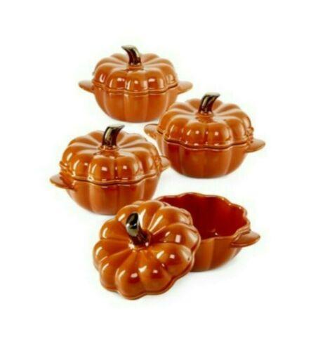 Martha Stewart Collection Ceramic Pumpkin Cocotte Individual Casserole 4 Pc. Set