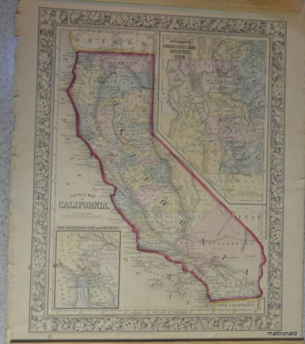 County Map of California 1860  Hand colored.  S. Agustus Mitchell