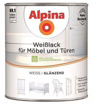 alpina wei lack f r m bel t ren gl nzend 2 l 26 m innenlack geruchsarm 4001244749690 ebay. Black Bedroom Furniture Sets. Home Design Ideas