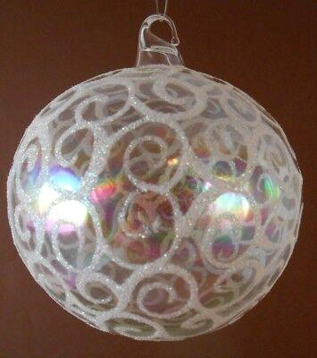 Xmas Ornament Iridescent Clear Glass Bulb w/White Glitter Design, approx.3