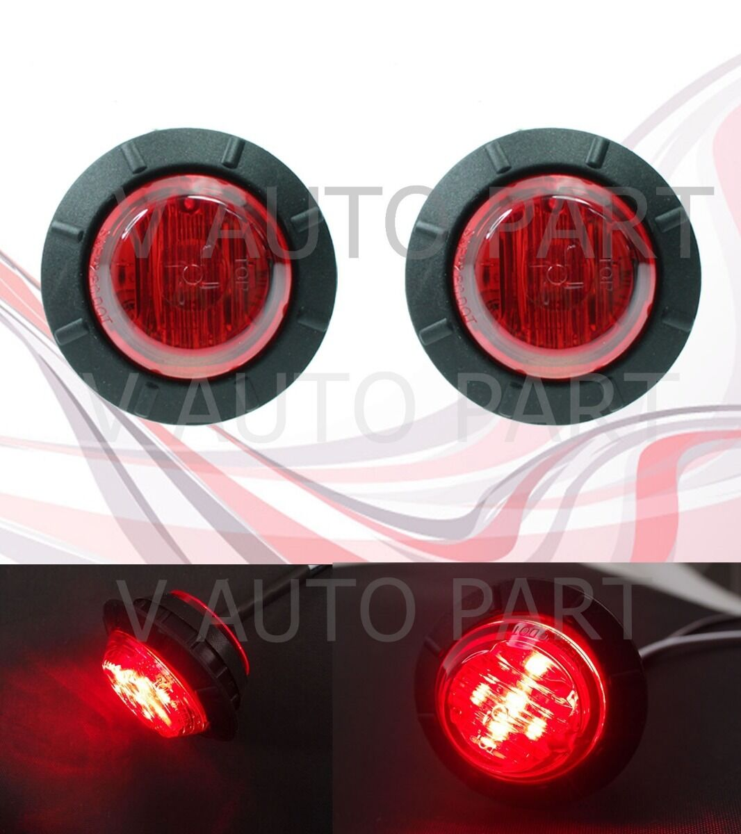 "10X 12V Round Side White 6 LED 1-1//4/"" Marker Light Boat Bus Navigation US Stock"