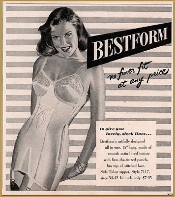 1949 Best Form All in One Girdle Bra Foundation Women's Fashion Print