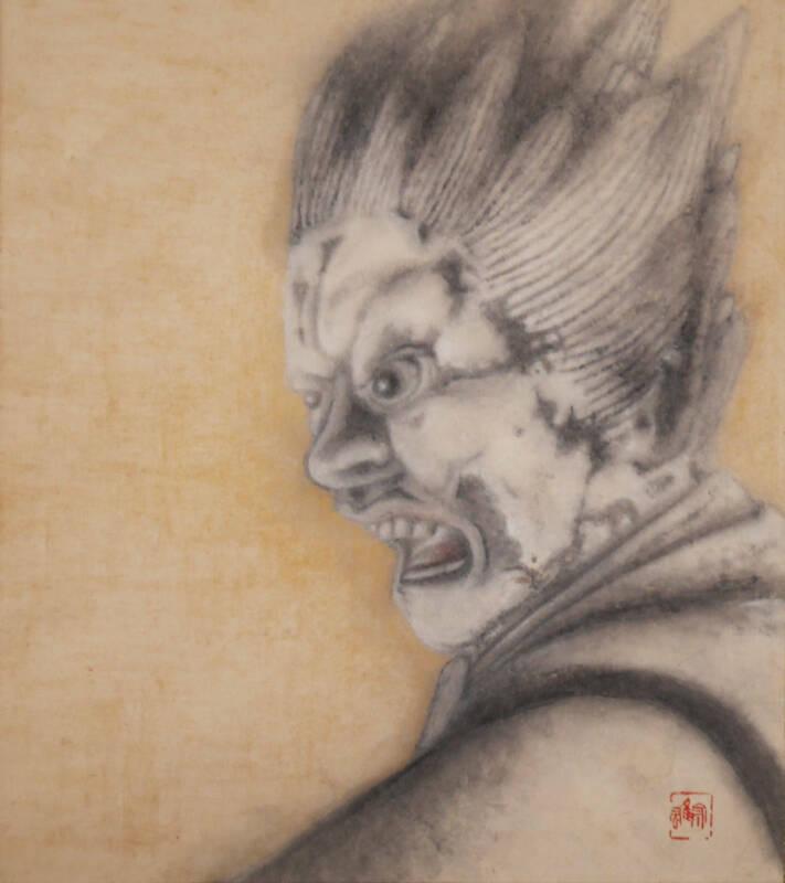 JAPANESE PAINTING HANGING SCROLL Vintage Martial arts god Old ART e315