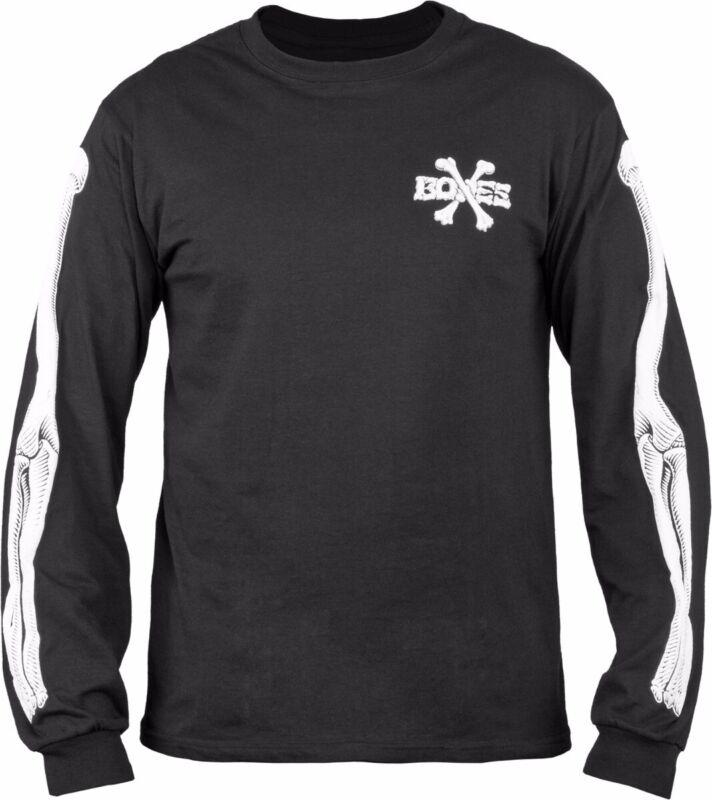 Powell Peralta CROSS BONES LONG SLEEVE Skateboard Shirt BLACK LARGE