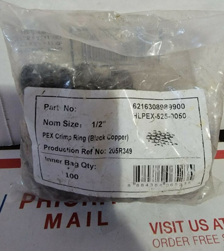 Pipe Crimp Ring 1/2 Inch Plumbing Fitting Accessories Replacement Pack of 100