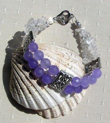 Alexandrite & Clear Quartz Crystal Gemstone Beaded Bracelet