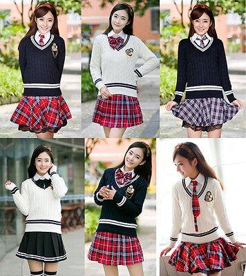 Cosplay Kostüm Lolita Marine Schul-Uniform Student Japan Rock Britisch Pullover
