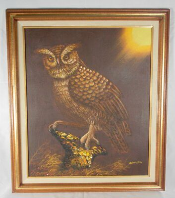 Owl Oil Painting On Canvas Signed Shilto Oil on Canvas