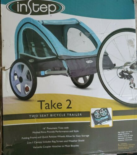 Instep Take 2 Kids/Child Bicycle Trailer, Blue Grey Foldable