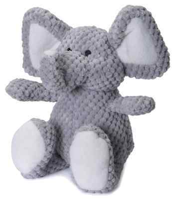 Godog Checkers Elephant With Chew Guard Technology Tough Plush Dog Toy  Grey