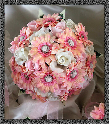 Brides wedding bouquet  artificial pink gerberas and roses with jeweled centres - Jewel Daisy Bouquet