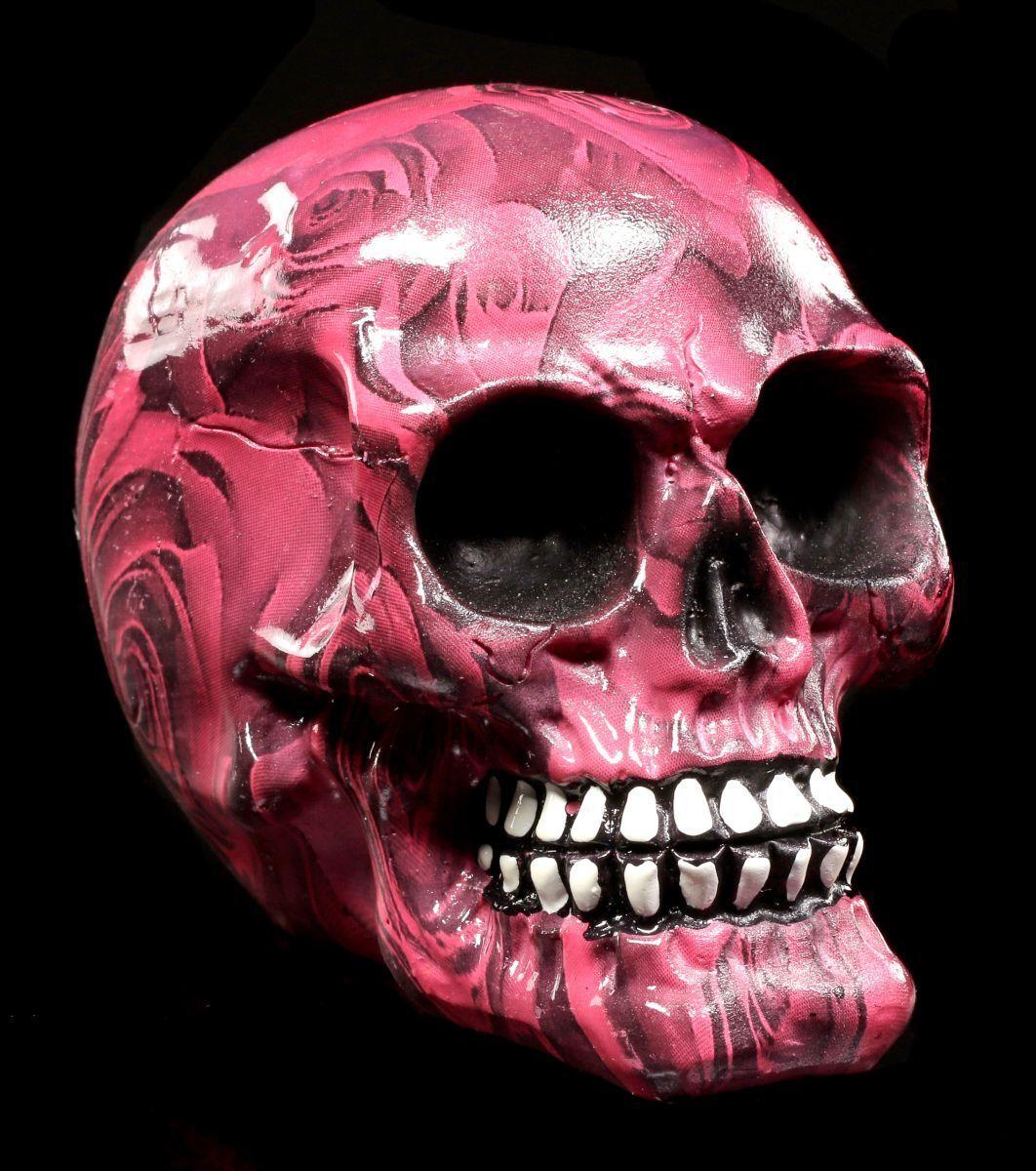 Bunter Totenkopf Mit Rosen Klein - Romance - Schädel Skull Totenschädel