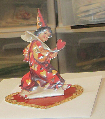 NEW VICTORIAN STAND UP VALENTINE'S DAY CLOWN CHILD W BASE DIECUT GREETING CARD