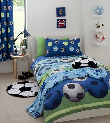 Kids Football Blue Duvet Quilt Cover Set- Single, Double, Curtains + Accessories