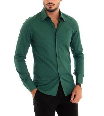 Camicia Uomo Maniche Lunghe Slim Tinta Unita Verde Classica GIOSAL