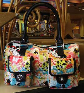 Disneyland Walt Disney World  Mickey Mouse Character Collage Handbag Purse