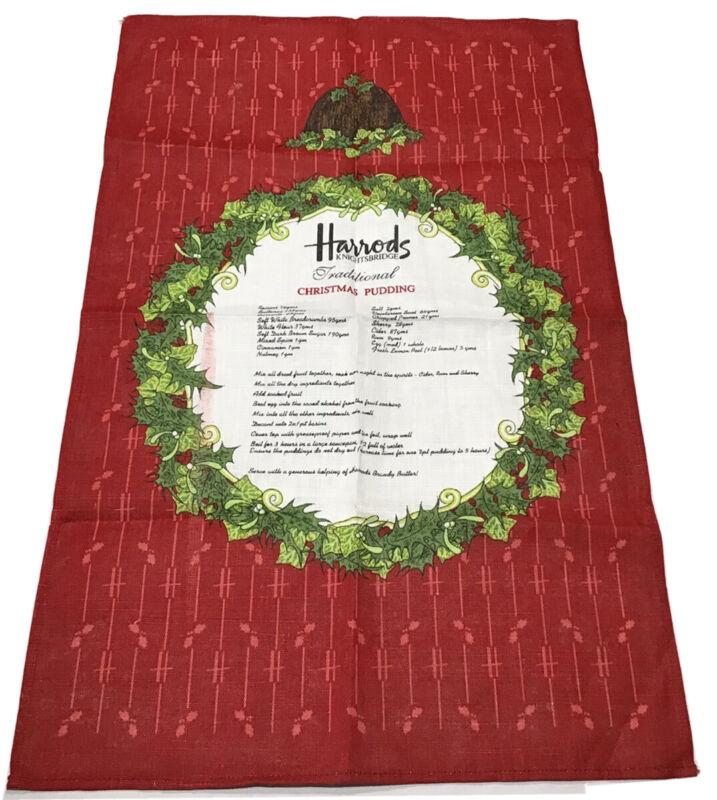 Harrods Knightsbridge Christmas Pudding Recipe Linen Tea Towel Irish UK 29x18