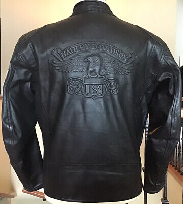 HARLEY DAVIDSON Men's XL Embossed USA Eagle Black Leather Jacket in VG Condition