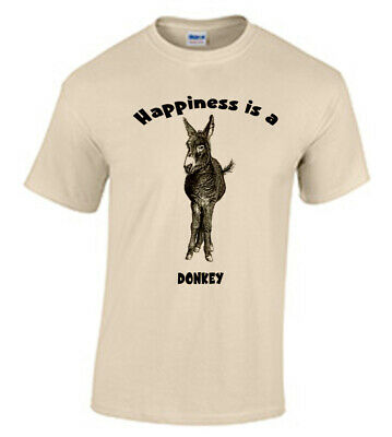 Happiness is a Donkey  Adult  t-shirt, Pet, Veterinarian, Farm Happiness Adult T-shirt