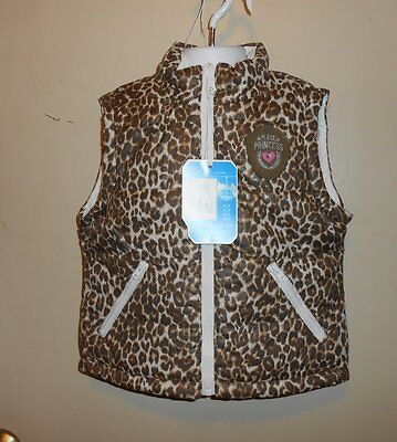 The Childrens Place Girls All-Weather Reversible Puffa Vest Animal Print 4 NWT
