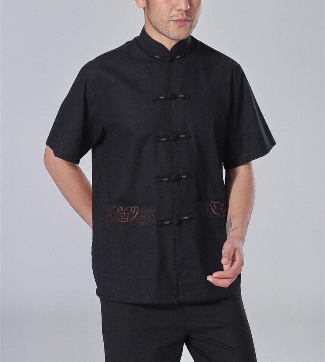Cinesi orientali Mens KUNG FU NERO COTONE LUCKY simbolo Top Corto Camicia cmssh10
