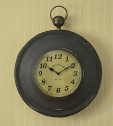 Primitive/Country Rustic Metal Large Pocket Watch Wall Clock, 16.5D FREE SHIP