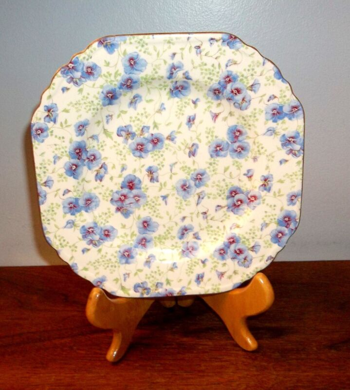 "FANCY PANSY~  CHINTZ ~ 7 1/2"" SQUARE PLATE ~ LORD NELSON ENGLAND # F 563"