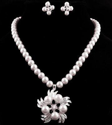 Set Collar perlas pendientes estrás Decoracion de joyería nupcial Flores segunda mano  Embacar hacia Argentina