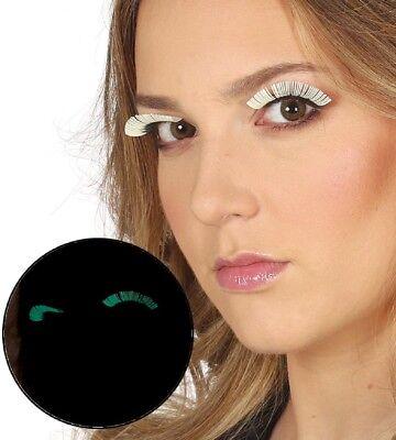 Ladies Glow In The Dark False Eyelashes Burlesque Drag Halloween Fancy Dress ()