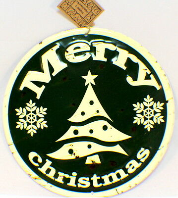 Merry Christmas Vintage Inspired Distressed Round Tree Decor Sign