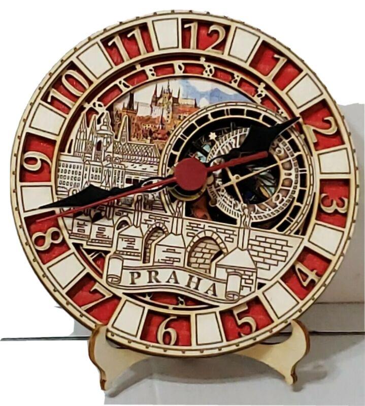 Prague Astronomical Wooden Clock Colorful Quartz Battery Praha Cityscape