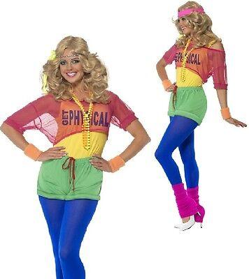 Damen 1980er Jahre 80er Neon Aerobe Lets Get Physical Kostüm Kleid Outfit 4-18 ()