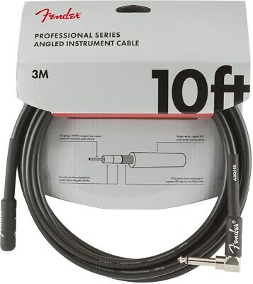 Fender Professional Series Instrument Cable - 10 Foot Straight to Angled