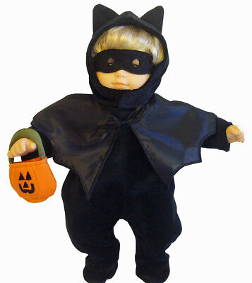 For Bitty Baby Black Velour Bat Costume Halloween LIQUIDATION SALE](Cabbage Patch Doll Halloween Costume For Baby)