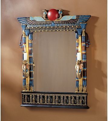 Egyptian Revival Wadjet Cobra Goddess Wall Mirror with Sconces
