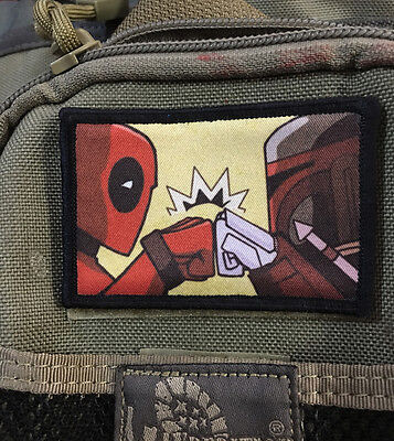 Deadpool Boba Fett Morale Patch Tactical Military USA Hook Badge Army Flag