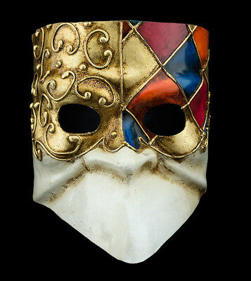 Mask from Venice Bauta Blue Golden Mosaic for Man-Paper Mash- 2159 -CB3