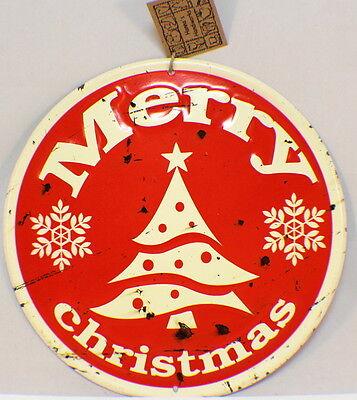 Merry Christmas Vintage Inspired Distressed Round Tree Decor Sign Santa