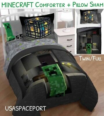 2pc MINECRAFT Twin/Full COMFORTER +Pillow SHAM Set Single/Do
