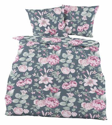 Dormisette Fein Biber Bettwäsche 2 tlg 135x200cm Rosen Hortensien Grau Rosa Rosé
