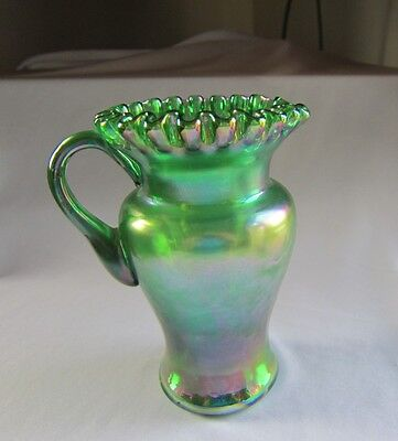 Fenton Green Iridized Carnival Pitcher Signed Frank Fenton
