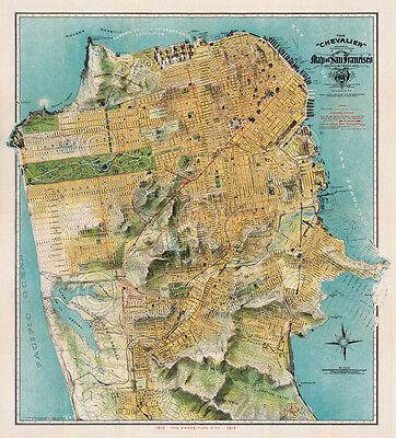 Map of San Francisco, California, 1912 August Chevalier Art Print Vintage Poster