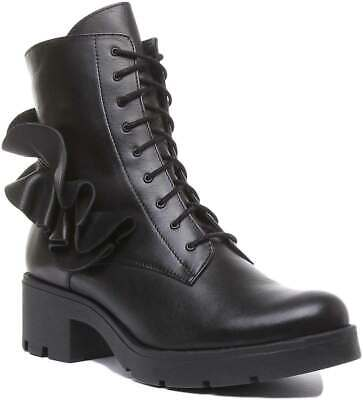 Justin Reece Hope Womens Leather Heeled Chunky Boots In Black UK Sizes 3 - 8