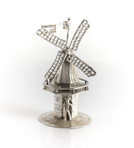 Dutch 833 Silver Miniature Figurine Windmill, c1900